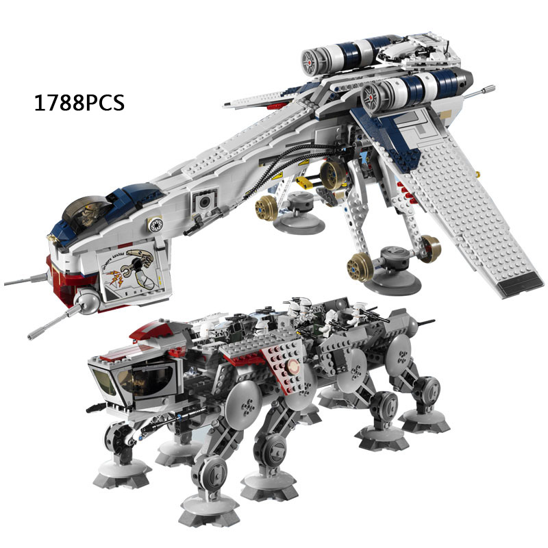 1788pcs star plan space war Republic Dropship with AT-OT Walker robot building block Clone Trooper compatible 10195 toy for kid