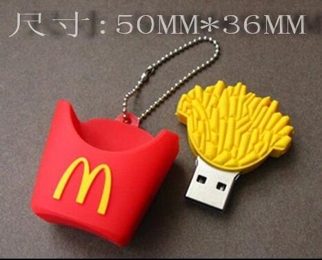 Hot Mcdonald french fries usb2.0 usb flash drive girls gift 64g usb flash drive 32g usb flash drive 16g Cartoon gift custom LOGO ...