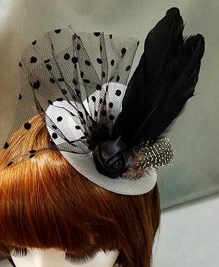 Lady Women Mini Feather Rose Top Hat Lace Fascinator Costume Hair Accessories 1