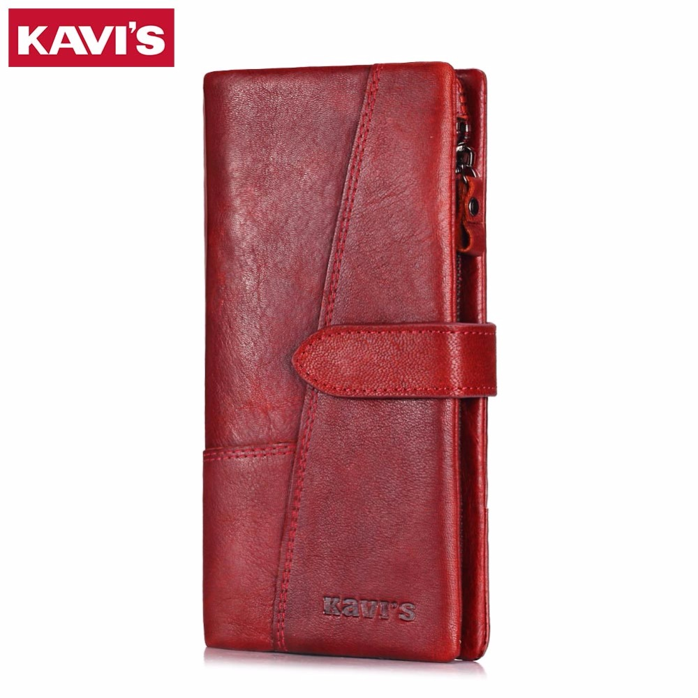 KAVIS Fashion Genuine Leather Women Wallet Female Long Portomonee Walet Lady Clutch Rfid Money Bag Wallet Handy Perse Coin Purse new design fashion leather women lady purse long burgundy wine red coin case cell mobile iphone handy clutch bag wallet quality