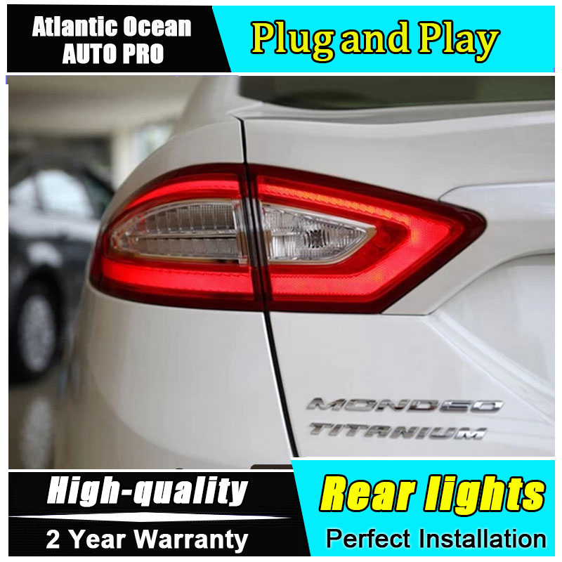 Car Styling LED Tail Lamp for Mondeo LED Taillights 2013-2015 Rear Light DRL+Turn Signal+Brake+Reverse auto Accessories led ligh car styling tail lights for hyundai santa fe 2007 2013 taillights led tail lamp rear trunk lamp cover drl signal brake reverse