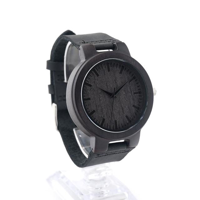 Reloj de madera de bambú con pulsera de cuero para hombre