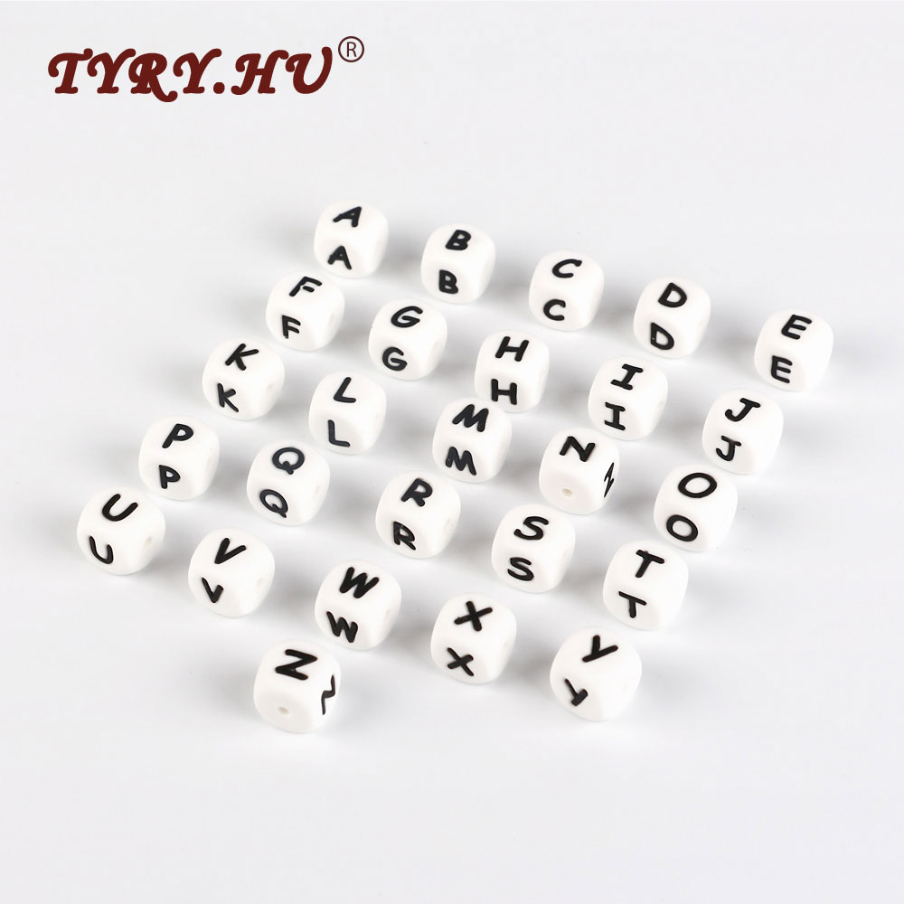 200pcs Baby Teethers Silicone Beads BPA Free DIY Loose Beads For Necklace Pacifier Clip Spacer Alphabet English Letter Beads