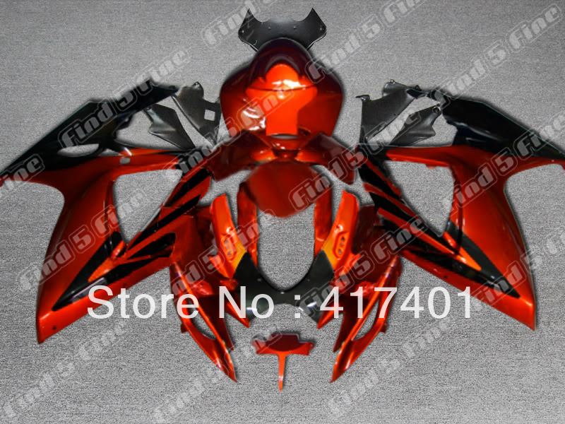 orange black for SUZUKI GSX R600 R750 06-<font><b>07</b></font> <font><b>GSXR</b></font> <font><b>600</b></font> 750 GSXR600 GSXR750 GSX-R600 GSX-R750 K6 06 <font><b>07</b></font> 2006 2007 <font><b>fairing</b></font> <font><b>kit</b></font> image