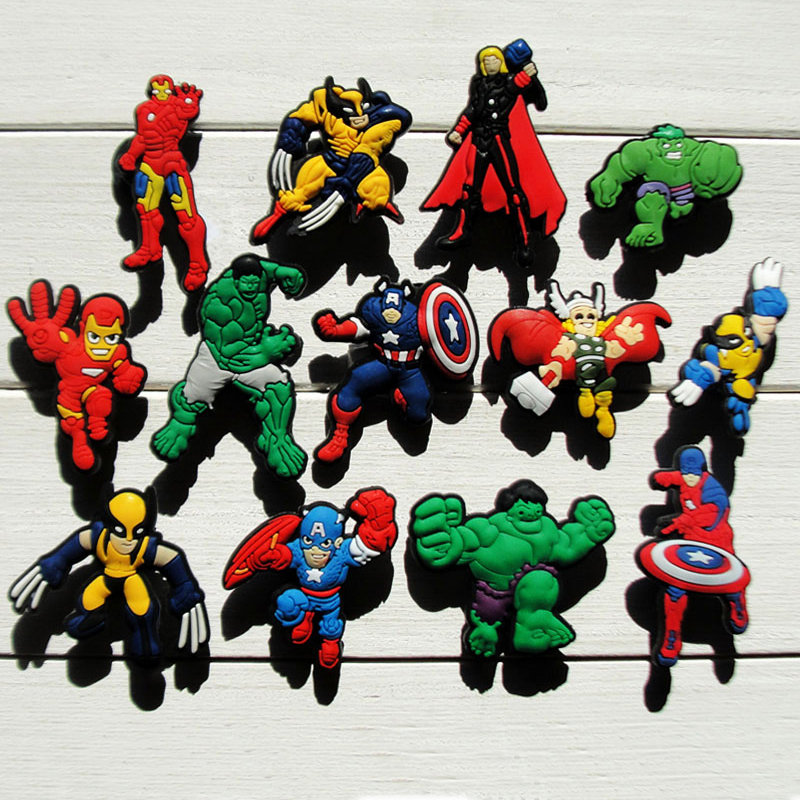 130pcs The Avengers Cartoon PVC Shoe Buckles Shoe Charms Fit Croc For Shoes&wristbands With Holes Furniture Accessories As Gifts
