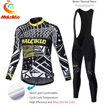 Malciklo 2017 Pro Tela Ciclismo Winter Thermal Fleece Jersey Largo Set Ropa Ciclismo Bike Ropa Bicicletas Pantalones Mantener Caliente W011