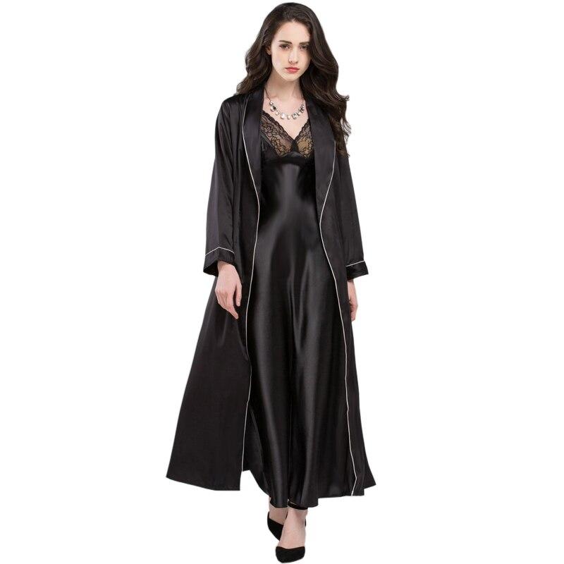 Sexy élégant vêtements de nuit femme été Satin soie fronde chemise de nuit à manches longues Robes de nuit + chemises de nuit deux pièces ensembles T0009