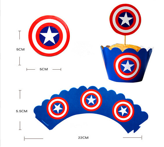 Popular 24Pcs Cupcake Wrappers Toppers Captain America Wrappers
