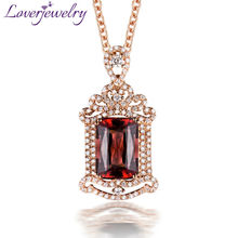 Luxury 18Kt Rose Gold Diamond Pink Tourmaline Pendant,Elegent Emerald Cut Tourmaline Pendant For Sale WP078