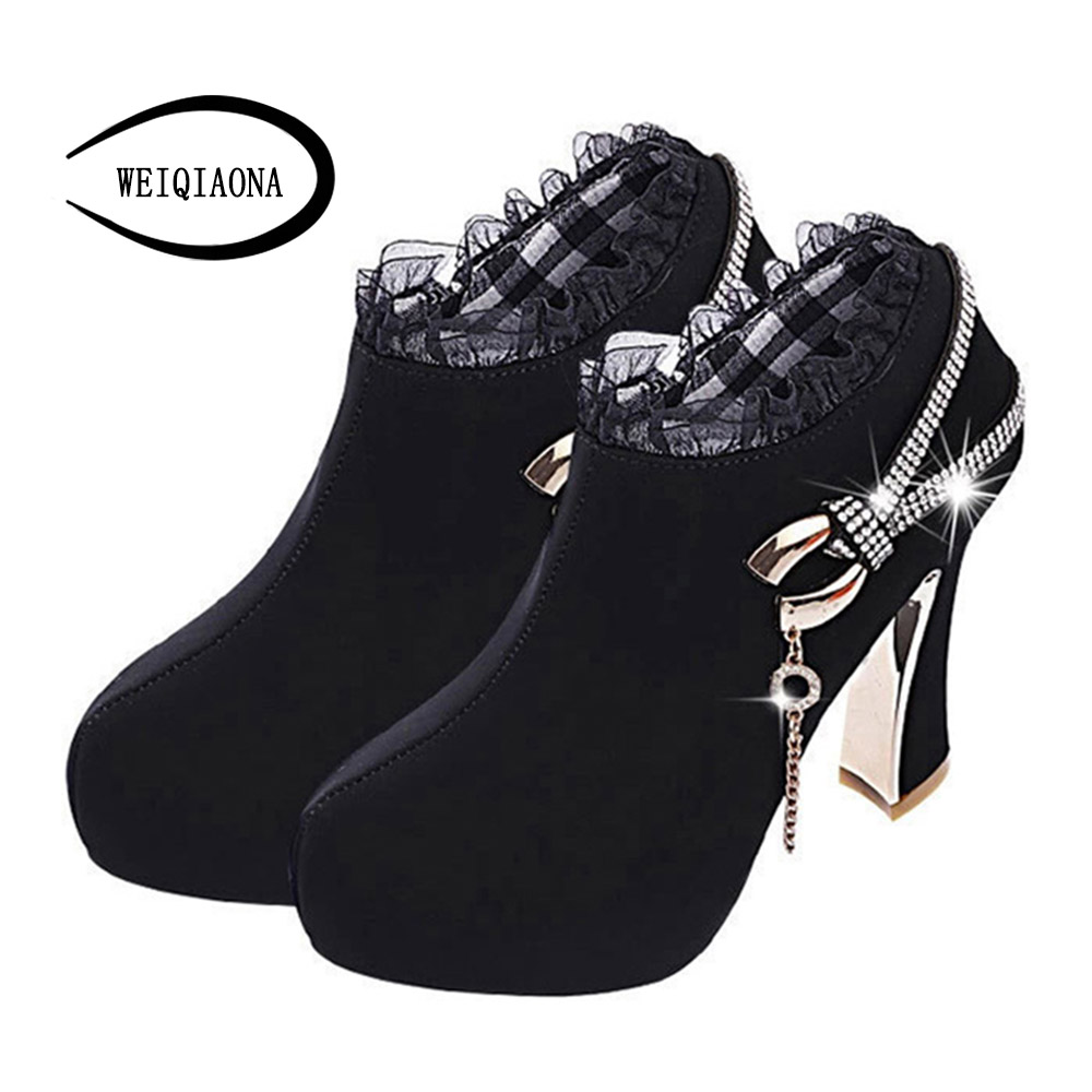 Women Ankle Boots Elegant Lace tassel short boots Nubuck Leather boots plush Platform Thick Heels zipper winter side zip winter 2014 british round solid leather thick follow with frosted leather ladies nubuck leather ankle boots