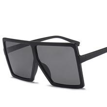 2019 ponadgabarytowych okulary przeciwsłoneczne damskie marki kwadratowe okulary brązowe czarne różowe szkła odcienie UV400 damskie gogle niska cena tanie tanio ALIKIAI WOMEN SQUARE Dla dorosłych Z tworzywa sztucznego 64mm 1702 68mm