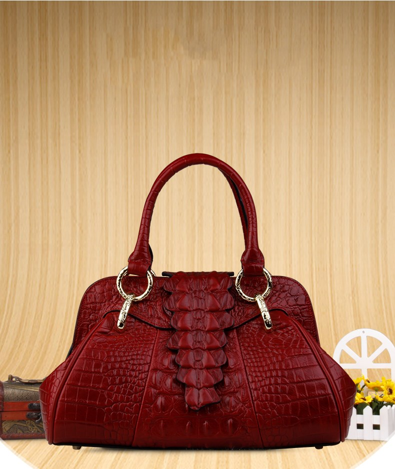Fashion Genuine Leather Women Crocodile Pattern Messenger bags Women Leather Handbags elegant crocodile pattern fashion women backpacks multipurpose solid genuine leather bags
