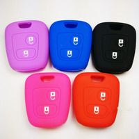 BBQ@FUKA 50Pcs Silicone Car Remote Key Cover Case Holder Fit For Peugeot 107 207 307 607 206 306 405 C3 Support Mix color