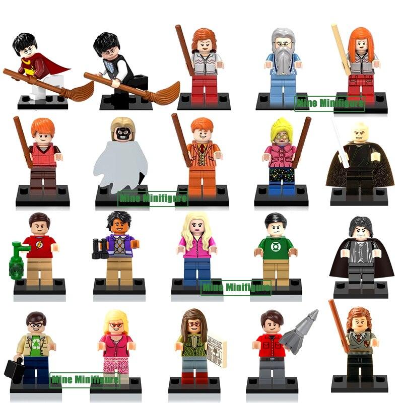 Одноместный Продажа Теория Большого Взрыва Черный Ворон Волдеморт Гарри Поттер Гермиона Рон Minifigures Строительный Блок Игрушки Совместим с Lego