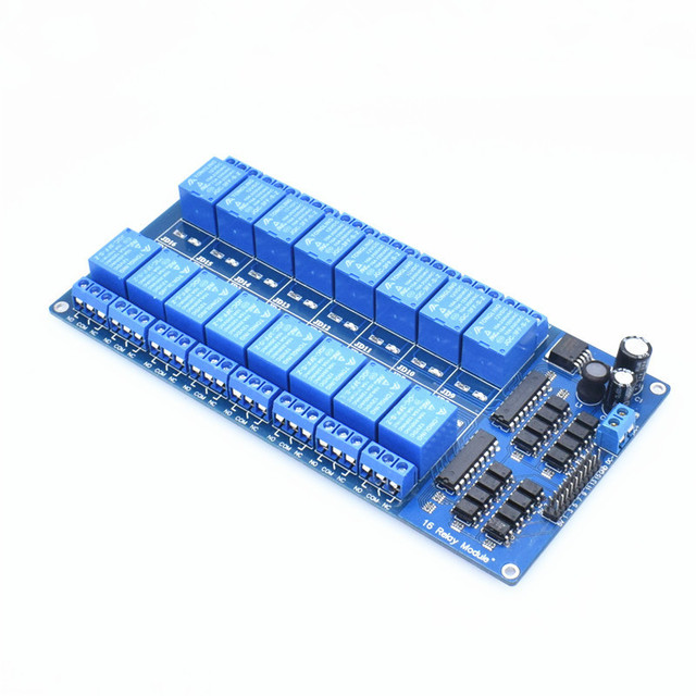 US $5 82 15% OFF|5V 12V 16 Channel Relay Module Interface Board For Arduino  PIC ARM DSP PLC With Optocoupler Protection LM2576 Power-in Relays from