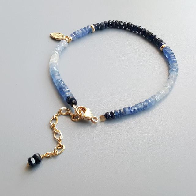Blue Sapphire Bracelet with Gold Plated 925 Silver Leaf 2
