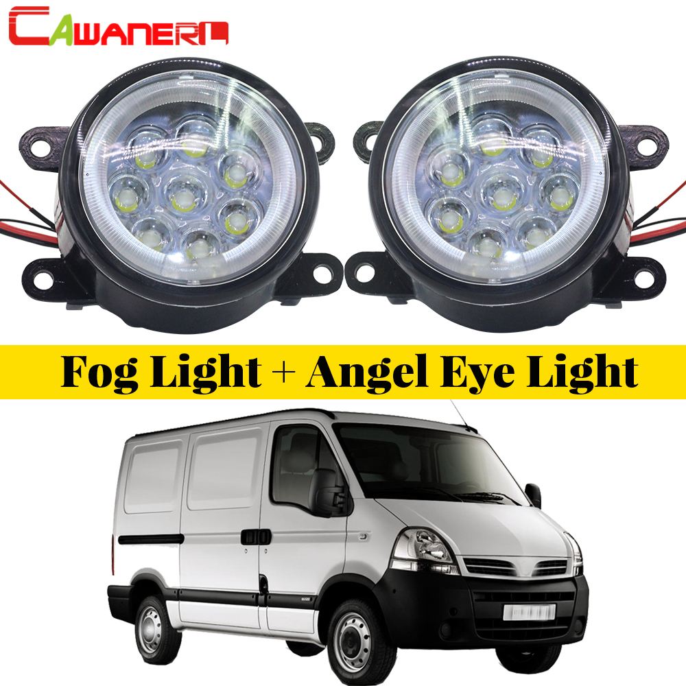 Cawanerl Car Accessories LED Bulb Fog Light Angel Eye DRL Daytime Running Light 12V 2 Pieces For 2002-2010 Nissan Interstar cawanerl for honda insight 2010 2014 car accessories 2in1 led fog light drl daytime running lamp white 5000k 12v 2 pieces
