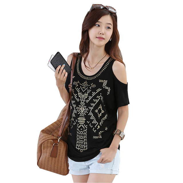 Casual T Shirt Femme 2017 Women Batwing Sleeve Korean Clothes Diamond Tshirt  Womens T Shirts Summer Plus Size Poleras Mujer