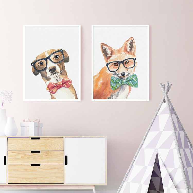 SURE LIFE Cool Dog Cat Fox Animals Poster Printings Canvas Paintings Nordic Wall Art Pictures for Nursery Kids Room Home Decor image