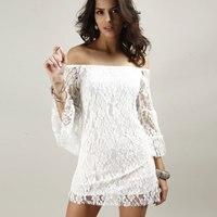 Vintage Brief Summer Lace Dress Loose Lotus Sleeve Slash Neck Sexy Crochet Dresses Elegant White Dress Women Beach Dresses 2016