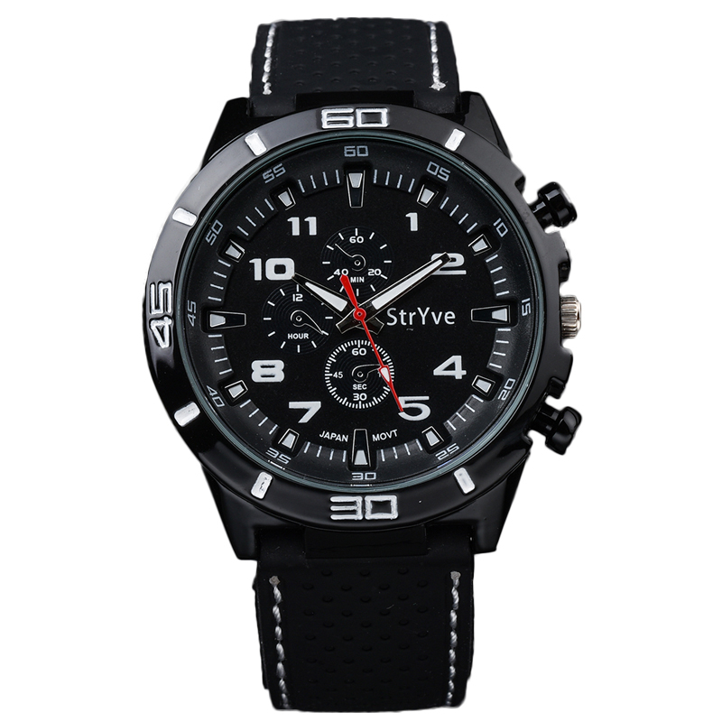 Stryve Brand relojes hombre 2018 Speed Racing Sport Watches Military Black Silicone Strap Japan Movement Quartz Men Wrist Watch 2017 luxury men s oulm watch sport relojes japan double movement square dial compass function military cool stylish wristwatches