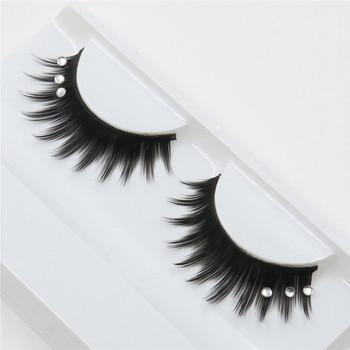 1 Pair Rhinestones False Eyelashes 3D Crossing Natural Exaggerated Fashion Glitter Lashes Women Lady Makeup Tools