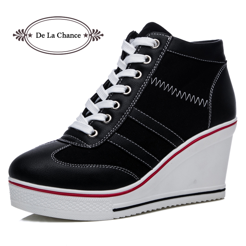 New Plus Size Women Wedge Sneakers Causal Shoes Woman Breathable Platform Black White Canvas Shoes Lace Up Hidden Wedge Shoe glowing sneakers usb charging shoes lights up colorful led kids luminous sneakers glowing sneakers black led shoes for boys