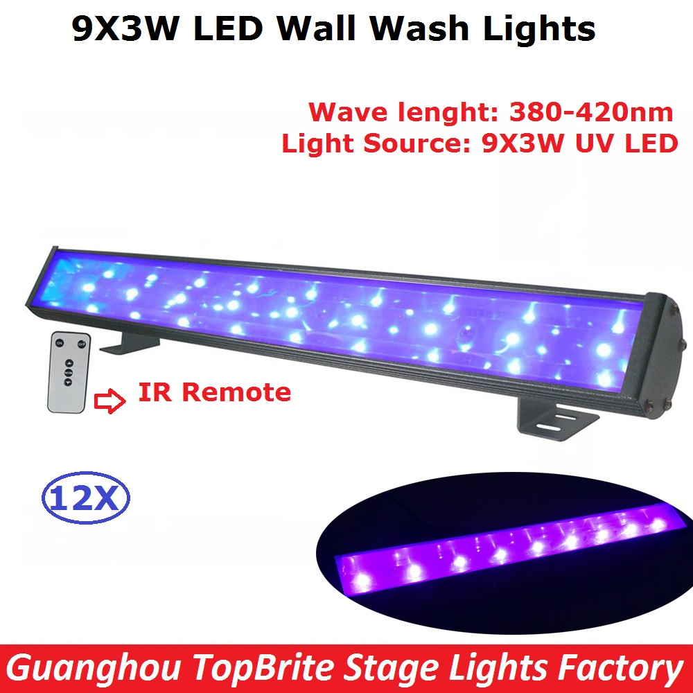 12 Unit New Coming Stage Bar Lights 9X3W UV Single Color LED Line Bar Strobe Lights With IRC Remote Control Fast Shipping tw 4a single stage 4 l rotary vane type portable vacuum pump with a single stage