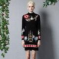 2016 Otoño Invierno Vestido de Las Mujeres de la Alta Calidad Diseñador Runway Vestidos de Suéter Largo de la Manga Más El Tamaño de La Envoltura Delgada de Tejer Vestido de Mujer