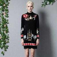 2016 Fall Winter Dress Women High Quality Designer Runway Sweater Dresses Long Sleeve Plus Size Slim