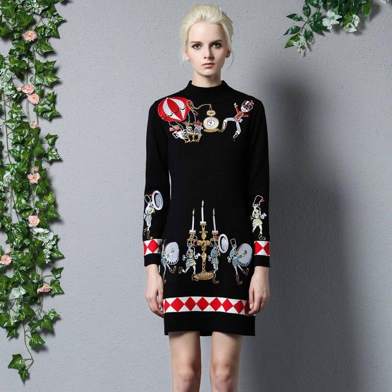 2017 herbst Winter Kleid Frauen Runway Vintage Stickerei Pullover Kleider Langarm Dünner...