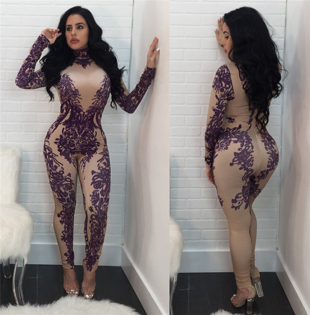 2018 Floral Printed Bodycon Jumpsuit Women Winter Long Sleeve Skinny