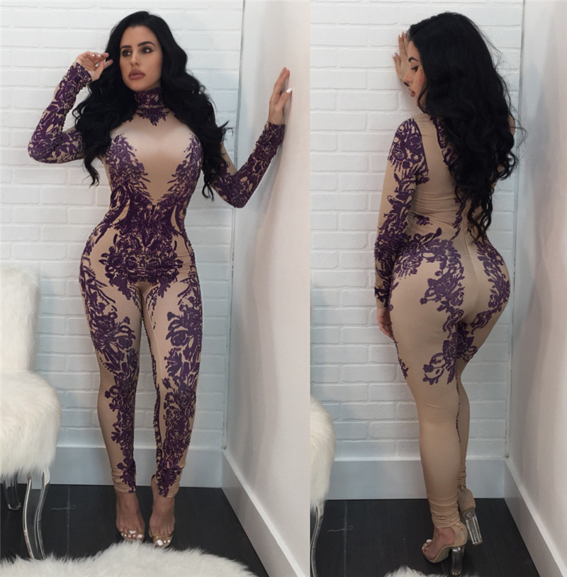 2019 Floral Printed Bodycon Jumpsuit Women Winter Long Sleeve Skinny Long Pants Romper Tight Nightclub Party Jumpsuits Overalls