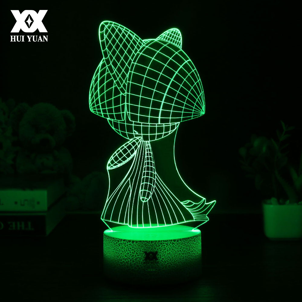 New Pokemon Go Ralts 3D Lamp USB Cartoon Night Light LED Cool Colorful Home Decorative Table Lamp Children Bedroom Sleep Lights led chelsea football club 3d lamp usb 7 color cool glowing base home decoration table lamp children bedroom night lights