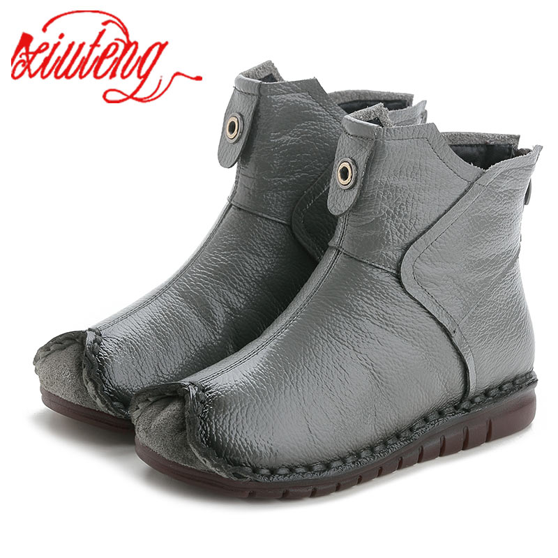 Xiuteng 2019 Winter Genuine Leather Women Ankle Boots Handmade Embroider Ethnic Style Vintage Women Shoes Flat Boots For Gift