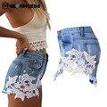 Owlprincess Rendas Padrão Floral Patchwork Shorts Jeans Rasgado Oco Out Verão Dama Da Moda Jeans Calças Curtas Calças
