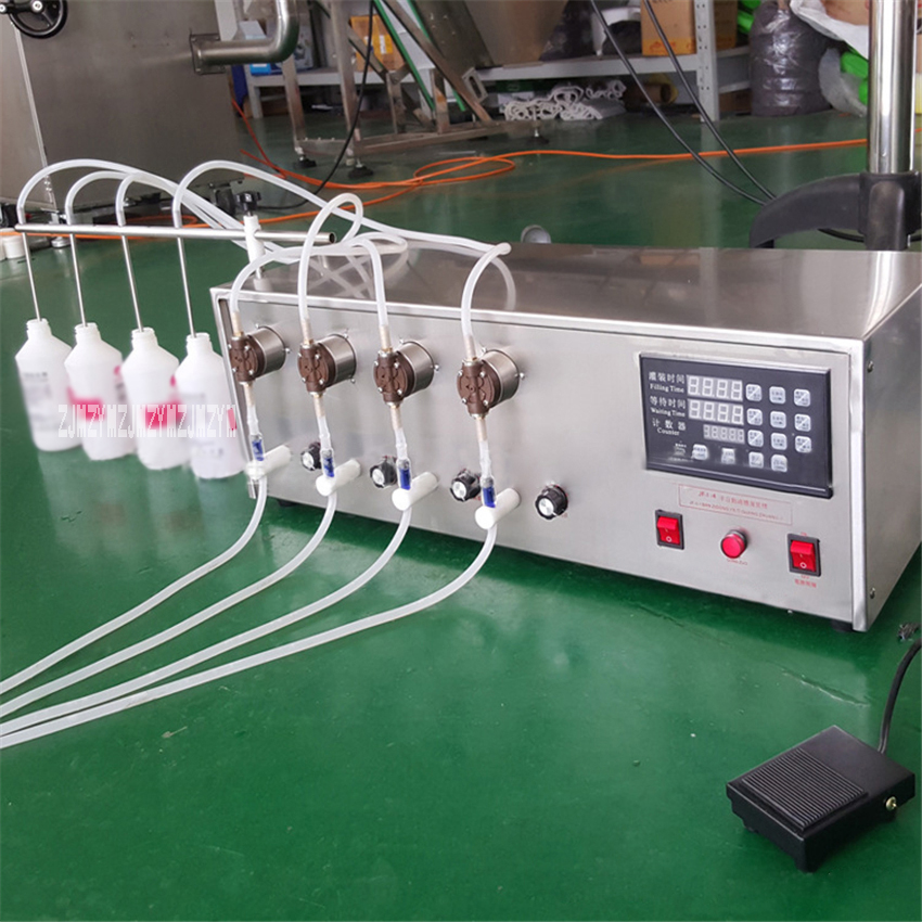 WX II 4 Small Liquid Filling Machine Magnetic Pump Semi automatic Electric Liquid Filling Machine 110V/220V 50/60Hz 160W 1 250ml
