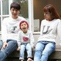 2017 Северная Корея мать отец ребенка футболка весенняя мода хлопка с длинным рукавом Футболки пары clothing семьи соответствующие наряды