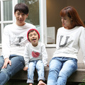 2017 North Korea mother father baby tshirt spring fashion cotton long sleeve T-shirts couples clothing family matching outfits