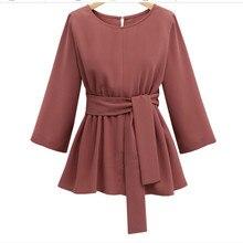 CUWHF 2018 XL-5XL Plus Size Chiffon Shirt Women Blouses Bow Peplum Top Blusas Mujer Autumn 3/4Sleeve Women Blouse Femme