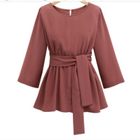 Mikialong 2017 XL 5XL Plus Size Chiffon Shirt Women Fashion Bow Peplum Top Blusas Mujer Autumn