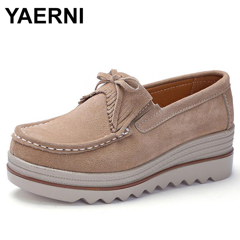YAERNI 2018 New Spring-Fall Women Flats Shoes   Suede   Genuine   leather   Shoes Ladies Casual Loafers Slip On Shoes E706