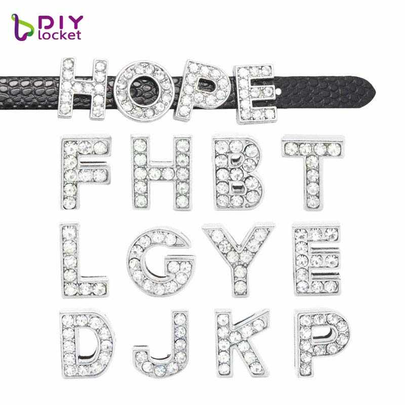 10 Pcs 8 Mm Volledige Rhinestone Slide Letters Charms A-Z Alfabet Slide Bead Charms Fit 8 Mm Diy Polsband & armband LSSL01 * 10