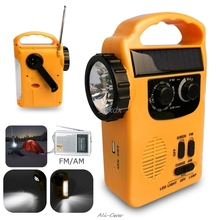 Banco de energía de Radios AM/FM, Dinamo Solar con manivela manual de emergencia para exteriores, con lámpara LED