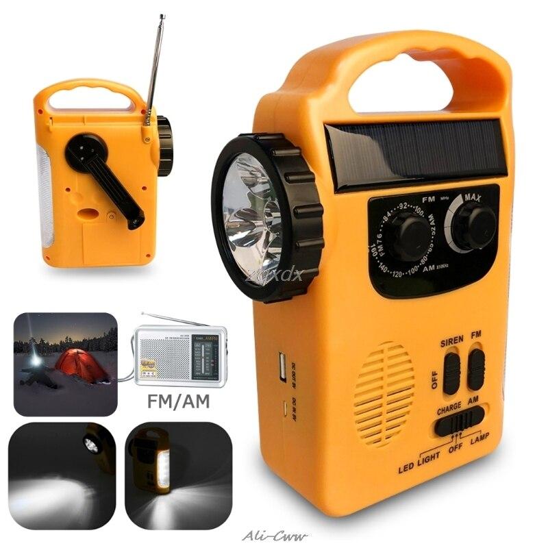Banco de potência solar dos rádios do dínamo am/fm da manivela da mão da emergência exterior com lâmpada conduzida