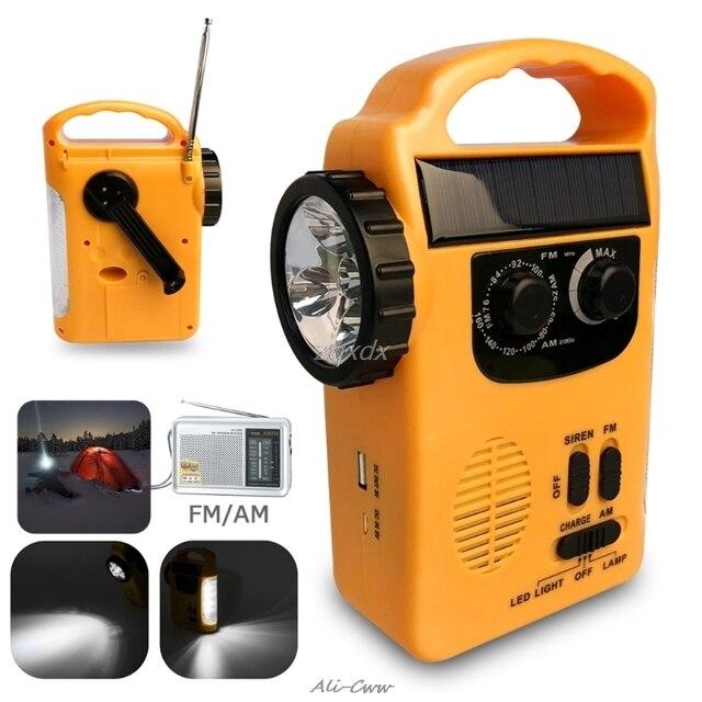 Outdoor Emergency Hand Crank Solar Dynamo AM/FM Radios Power Bank with LED Lamp
