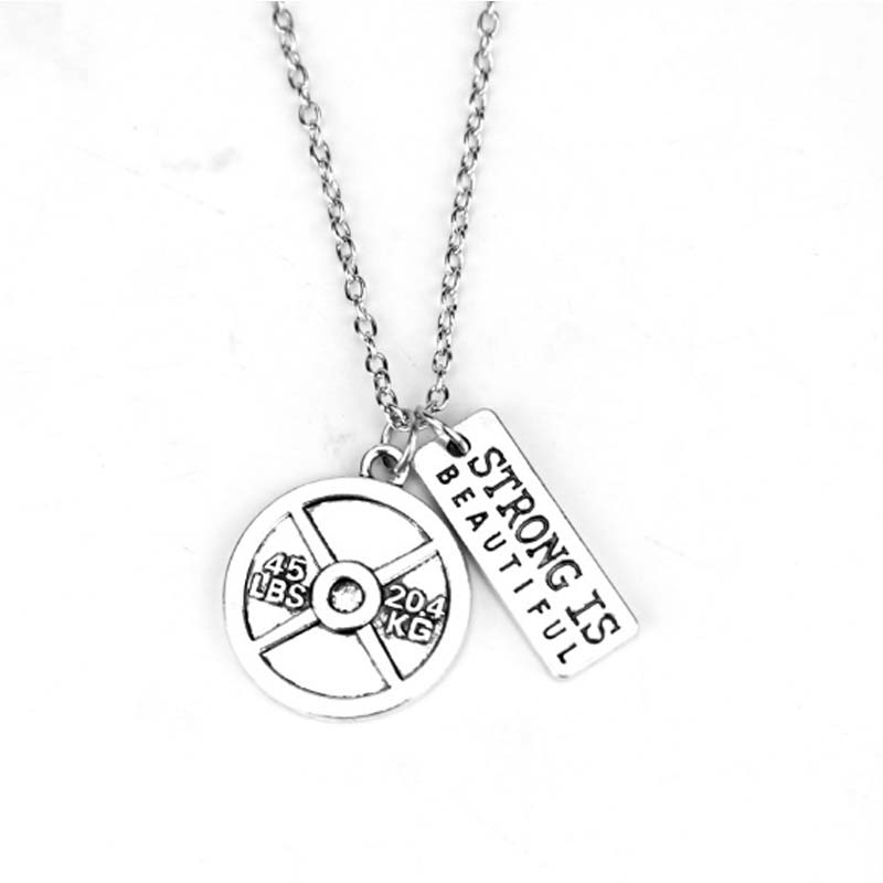 Bodybuilding Cross Fit Barbell Disc Sports Tag Necklace Fitness Motto Letters Stainless Titanium Steel Pendant Necklace Women