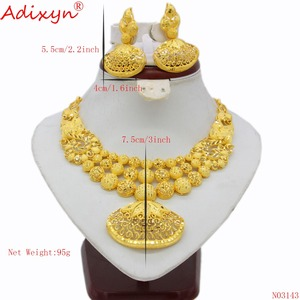 Image 2 - Adixyn Ethnic India Necklace Earrings Set Jewelry Women Girls Gold Color Arab/Ethiopian/African Wedding Accessories N03143