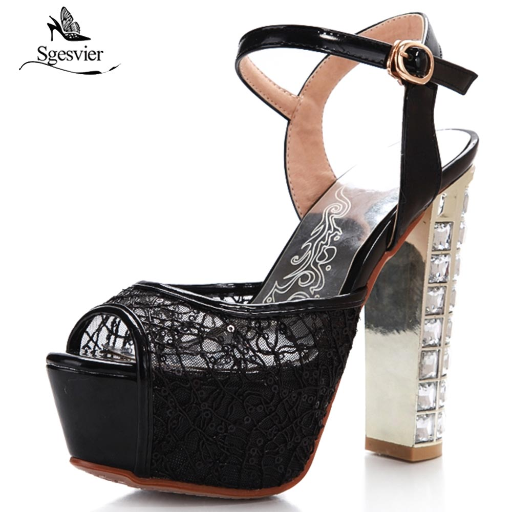 Sgesvier <font><b>2018</b></font> Summer <font><b>Sexy</b></font> Lace Glitter Peep Toe Sandalias <font><b>Shoes</b></font> Thick High <font><b>Heel</b></font> Ankle Buckle Party Wedding <font><b>Shoes</b></font> Mujer OX467 image