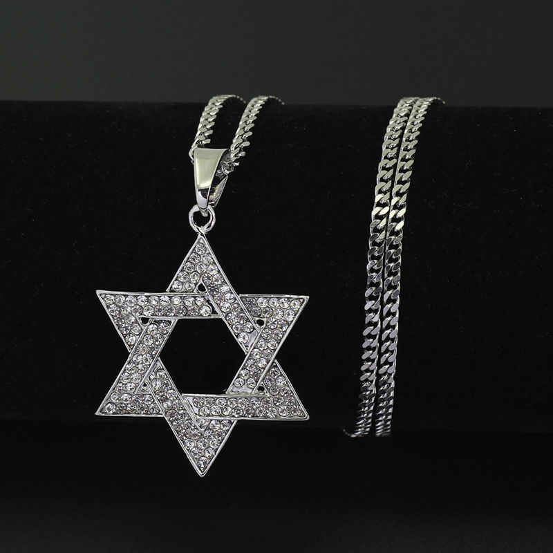 Crystal Star Hexagram Magen David iced out pendant necklace Cuban chain neckless hip hop bling bling jewler